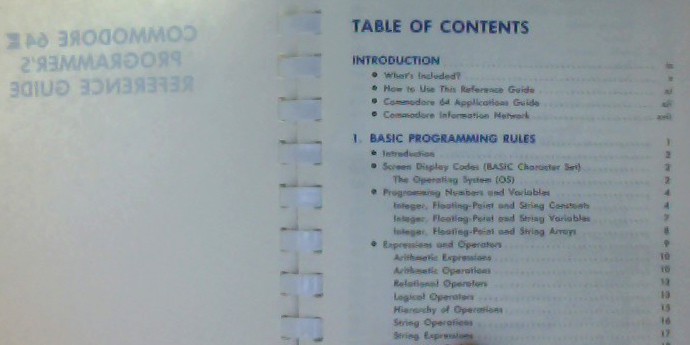 Commodore 64 Programmer's Guide, table of contents.